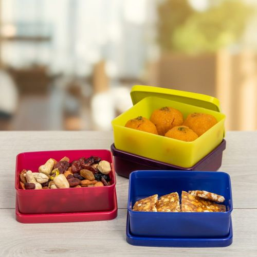 Snacks Dry Fruits Container Mini Square Away 140ml 4pc