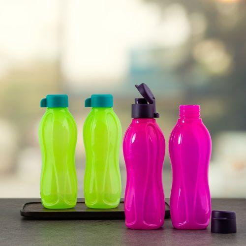 Tupperware Aquasafe Plastic Fliptop and Normal Cap Water Bottle 500ml 4pc