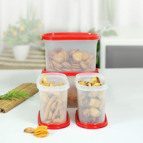 Oval Dry Storage Containers 1.1L 4pc(Chili)