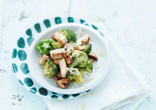 Marinated Tofu, Broccoli and Mushrooms